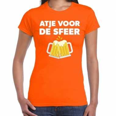 Atje voor de sfeer fun t-shirt oranje voor dames