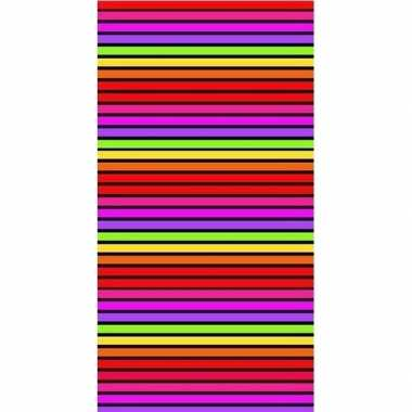 Badlaken matira met strepen roze/oranje voor volwassenen 90 x 170