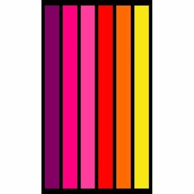 Badlaken met roze/oranje/gele strepen voor tieners 86 x 160