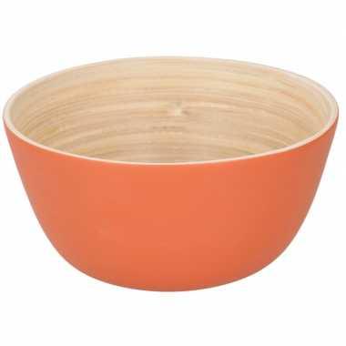 Bamboehouten chips schaaltje oranje 12 cm