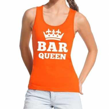 Bar queen mouwloos shirt / tanktop oranje dames