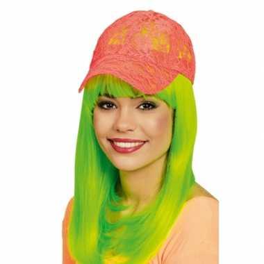 Baseball cap neon oranje voor dames