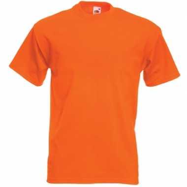 Basis heren t-shirt oranje met ronde hals