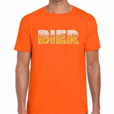 Bier fun t-shirt oranje voor heren