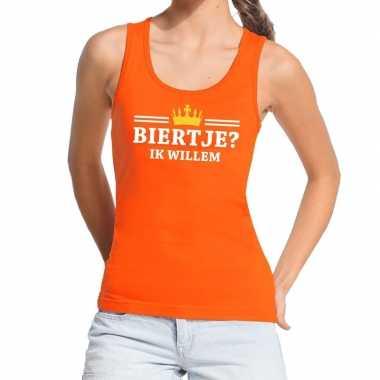 Biertje ik willem mouwloos shirt / tanktop oranje dames