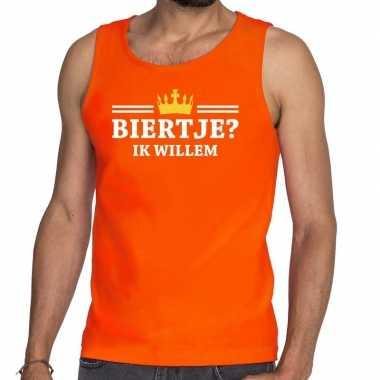 Biertje ik willem mouwloos shirt / tanktop oranje heren