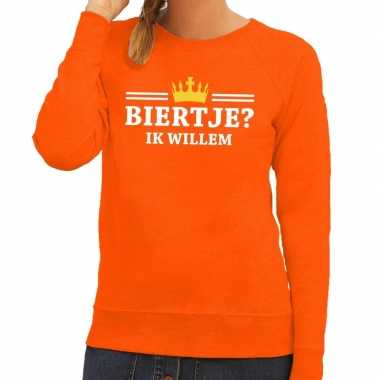 Biertje ik willem sweater oranje dames