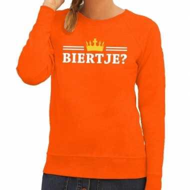 Biertje met kroontje sweater oranje dames