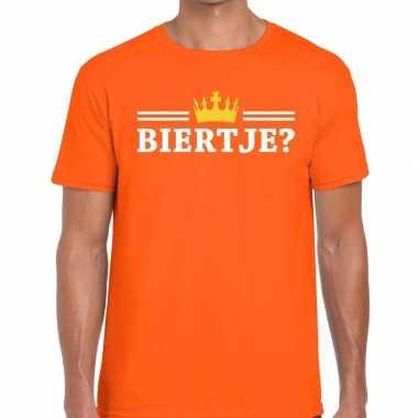 Biertje shirt oranje met kroontje heren