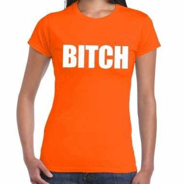 Bitch fun t-shirt oranje voor dames