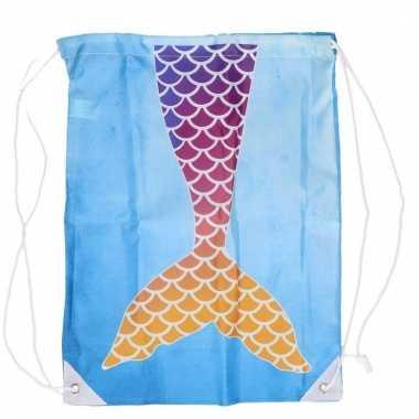 Blauw gymtasje met paars/oranje zeemeermin schubben print