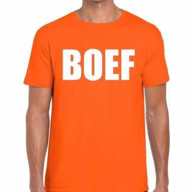 Boef fun t-shirt oranje voor heren