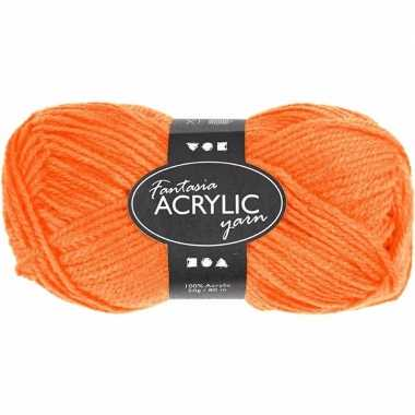 Bolletje acryl wol neon oranje 50 gram