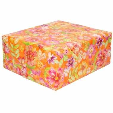 Cadeaupapier oranje met roze bloemen 70 x 200 cm