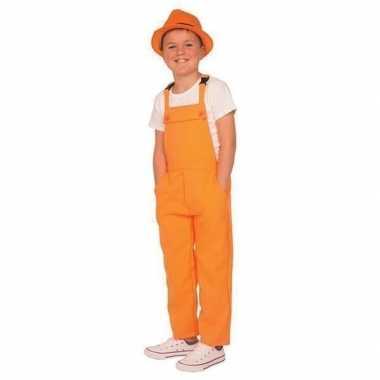 Carnaval tuinbroek oranje voor kinderen
