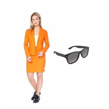 Carnavals pak oranje dames 38 (m) met gratis zonnebril