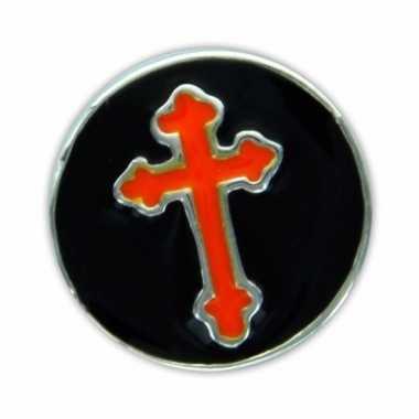 Chunk zwart met oranje kruis 1 8 cm