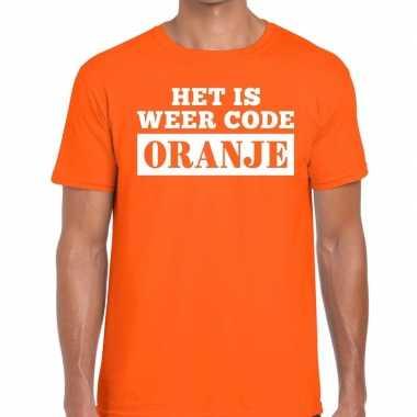 Code oranje shirt oranje met kroontje heren