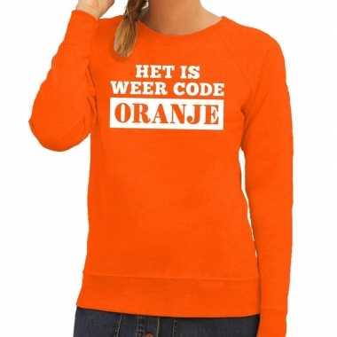 Code oranje sweater oranje dames