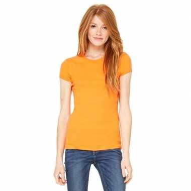 Dames t-shirt oranje met ronde hals hanna