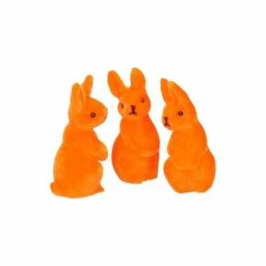 Deco paashaas oranje 5 cm