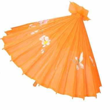 Decoratie parasol china oranje 80 cm