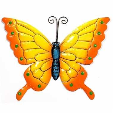 Decoratie vlinders geel/oranje 22 cm