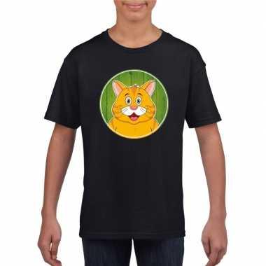 Dieren oranje kat shirt zwart jongens en meisjes
