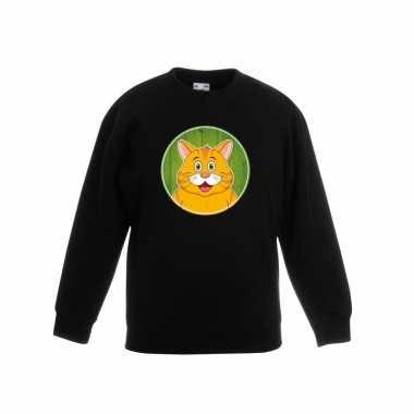 Dieren oranje kat trui zwart jongens en meisjes