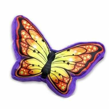 Dierenkussen vlinder oranje paars 50 cm