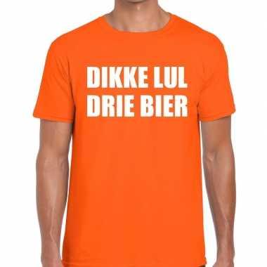 Dikke lul drie bier fun t-shirt oranje voor heren