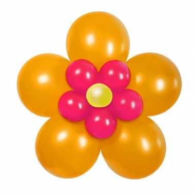 Doe het zelf ballon figuur bloem oranje roze