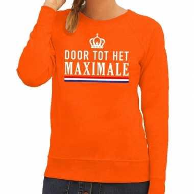 Door tot het maximale sweater oranje dames