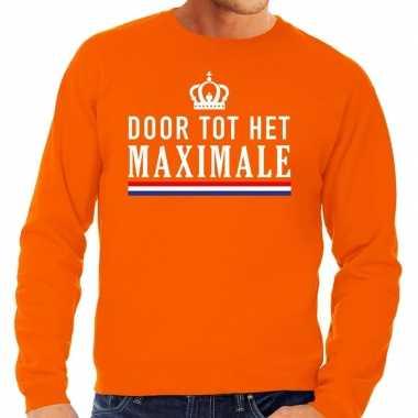Door tot het maximale sweater oranje heren