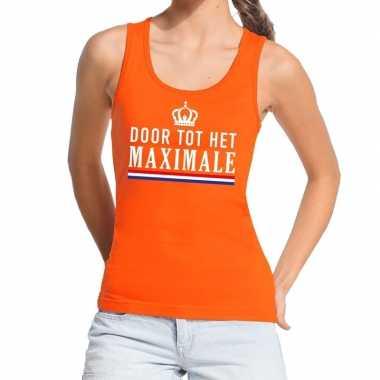 Door tot het maximale tanktop / mouwloos shirt oranje dames