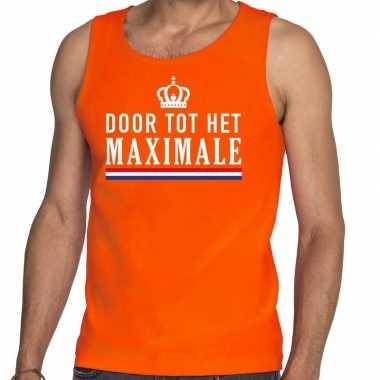 Door tot het maximale tanktop / mouwloos shirt oranje heren