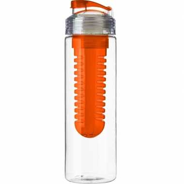 Drinkfles/waterfles met fruit infuser oranje 650 ml