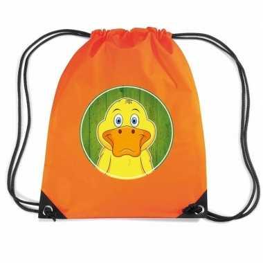 Eend dieren trekkoord rugzak gymtas oranje voor kinderen