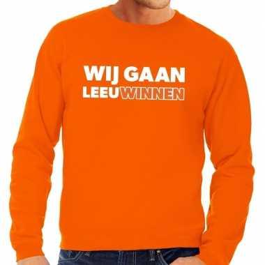 Ek / wk supporter sweater wij gaan leeuwinnen oranje voor heren