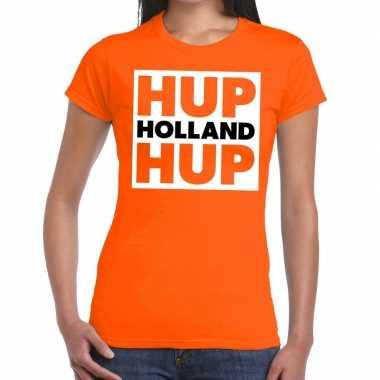 Ek / wk supporter t-shirt hup holland hup oranje voor heren