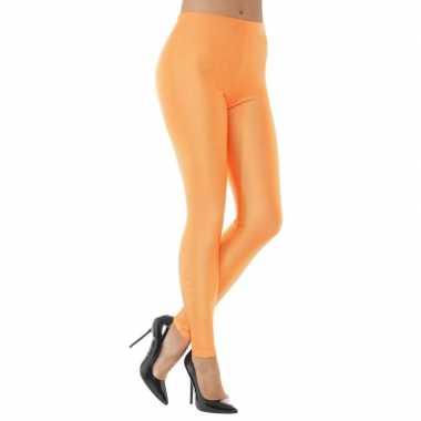 Elastische neon oranje dames legging