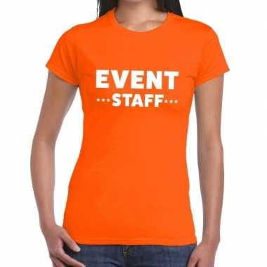 Evenement personeel t-shirt oranje met event staff bedrukking voor da
