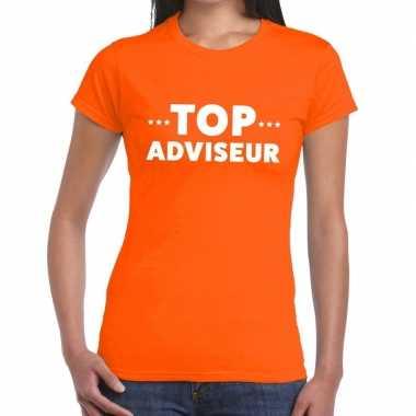 Evenementen tekst t-shirt oranje met top adviseur bedrukking voor dames