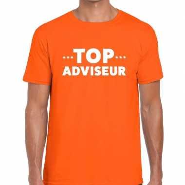 Evenementen tekst t-shirt oranje met top adviseur bedrukking voor heren