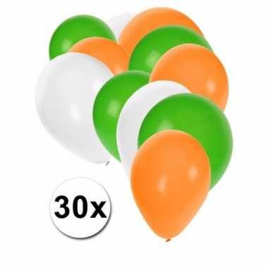 Fan ballonnen groen wit oranje 30 stuks