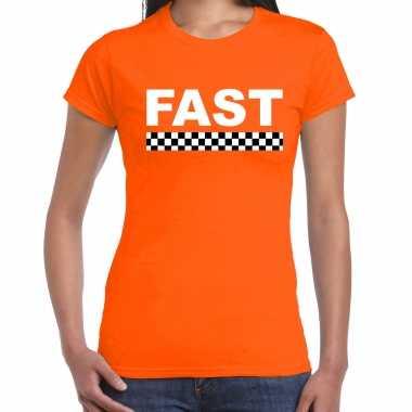 Fast / autosport supporter t-shirt met finish vlag oranje voor dames