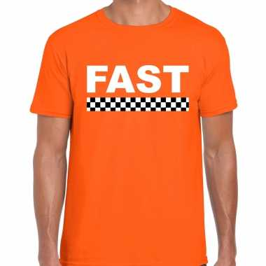 Fast / autosport supporter t-shirt met finish vlag oranje voor heren