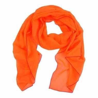 Feest oranje verkleedaccessoire dames sjaal/shawl