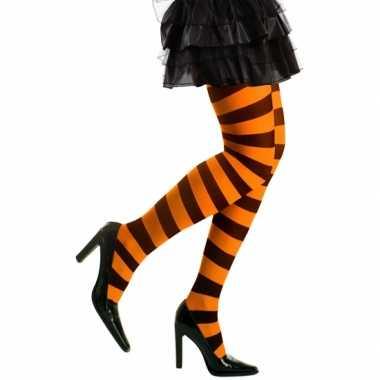 Feest/party gestreepte heksen panty maillot zwart/oranje voor dames m