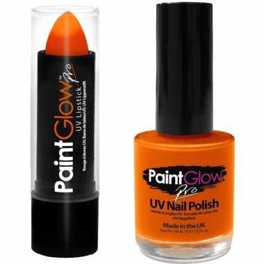 Feloranje/neonoranje lippenstift/lipstick en nagellak uv/glow in the